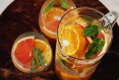 grapefruit tangerine and mint infused water